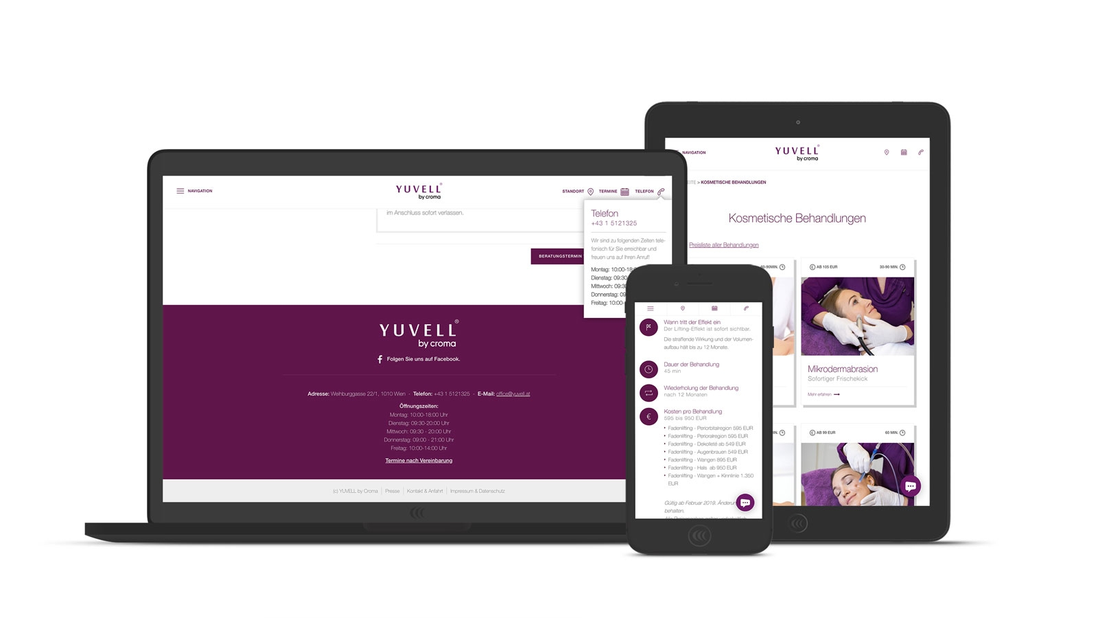 Yuvell Fine Aesthetics | yuvell.at | 2016 (Responsive) © echonet communication